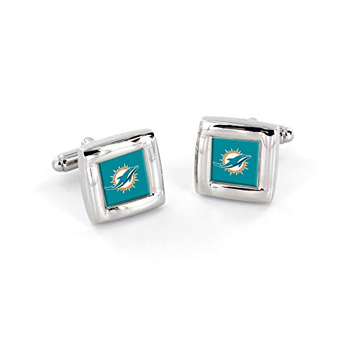aminco NFL Miami Dolphins Womens NFL Sports Team Logo Square Cufflinks with Gift Box Set, Silver, One Size (Miami Dolphins Womens Stainless Steel)