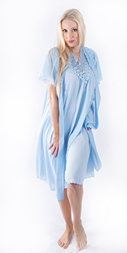 Shadowline Women's Beloved 41 Inch Flutter Sleeve Waltz Robe & Gown Set (SMALL, BLUE)