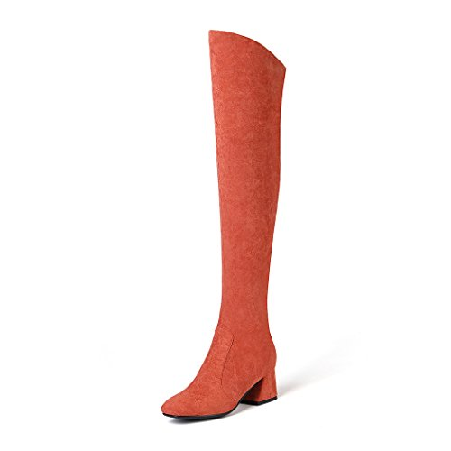 chaussures à rouge Bottes pointu hauts brique femme talons sabot au bout cuissardes pour genou BFFqxOEP