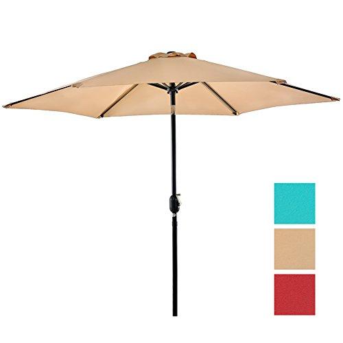 NatureFun 9ft Patio Market Umbrella with Tilt and Crank Beige