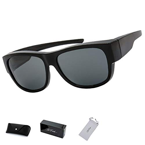 The Fresh High Definition Polarized Wrap Around Sunglasses for Prescription Glasses 66mm Gift Box (4-Matte Black, ()