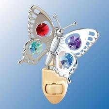 Price comparison product image Swallow Tail Butterfly Night Light..... With Mixed Swarovski Austrian Crystals