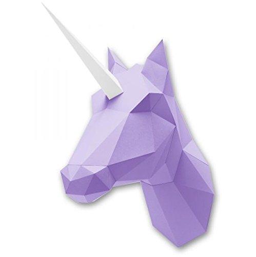 assembli Kit pour fabriquer Trophée Origami Licorne ou Cheval en Papier Violet