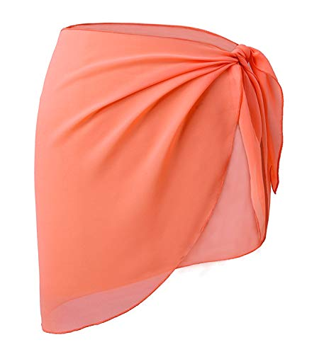 Sarong Wrap Cover Up - OmicGot Women's Short Sarong Wrap Cover Up Swimwear Skirt Coral Orange Short Plus Size