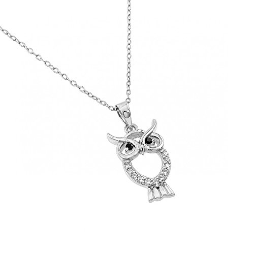 Womens 925 Sterling Silver Rhodium Plated Owl Pendant 16