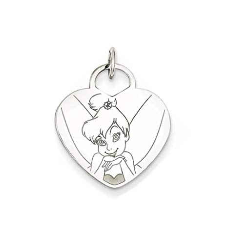 - Roy Rose Jewelry Sterling Silver Disney Tinker Bell Heart Charm Necklace Complete with 18
