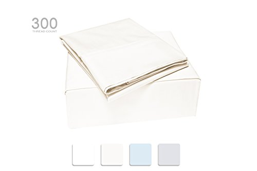 TRANQUIL NIGHTS 300 Thread Count Cotton Sheet Set- Ivory Full Sheets, 4-Piece Set, Combed Compact Cotton, Percale Weave, Classic Z Hem,Cool&Crisp, Fits Mattress Upto 17