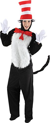 elope Adult Deluxe Cat In The Hat Costume, Red/White, Small/Medium ()
