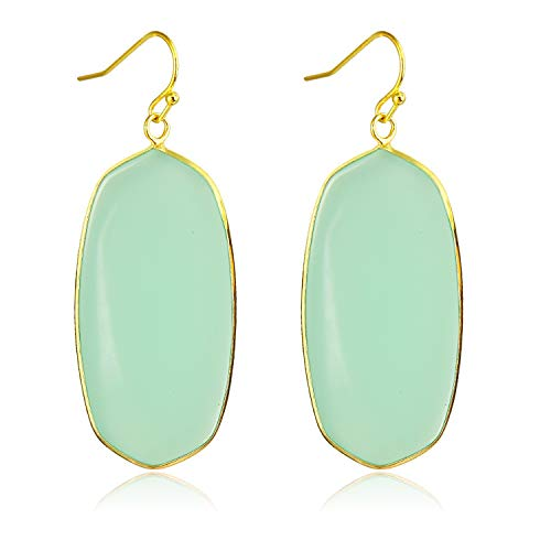 Green Crystal Stone Dangle Drop Earrings Teardrop/Oval Stylish Jewelry for Women Ladies Girls (Light Green(Oval))
