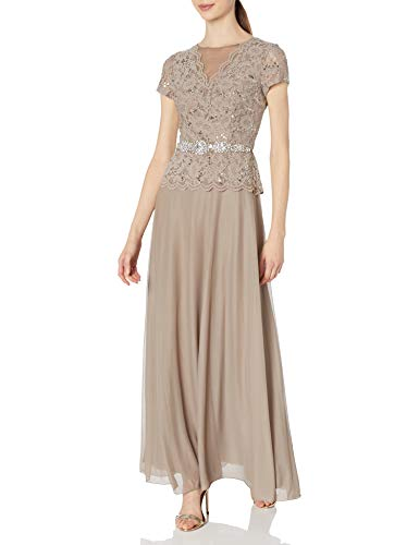 Cachet Women's Short Sleeve Lace Gown, Taupe, 12