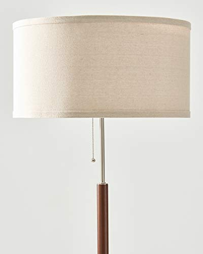 Brightech Carter - Floor Lamp for Mid Century Modern Living Rooms - Contemporary Office & Bedroom Standing Light - Tall Pole, Drum Shade Lamp with Walnut Wood Finish