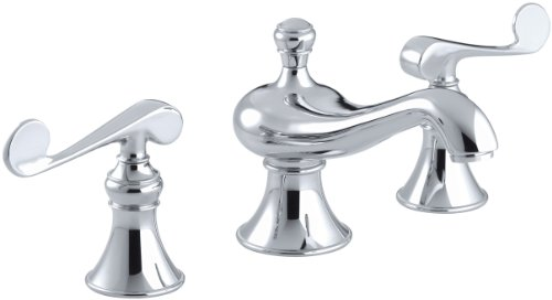 KOHLER K-16104-4-CP Revival Widespread Commercial Bathroom Sink Faucet with Scroll Lever Handles, Polished Chrome Chrome Revival 2 Handle
