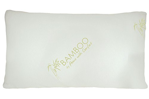 Bamboo By Home With Comfort - Bamboo Pillow With Shredded Down Alternative Fill and Stay Cool Cover With Adjustable 2 Zipper Design To Change Fill Level For Desired Height (Queen)