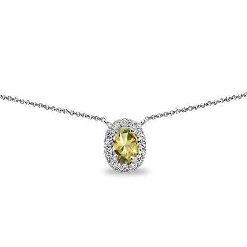 - Sterling Silver Citrine Oval Halo Choker Necklace with CZ Accents