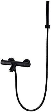 YKJ-YKJ バスルームのシンクは、小さなシャワーでスロット付き浴室の洗面台のシンクホットコールドタップミキサー流域の真鍮シンクミキサータップマットブラックトリプルシャワーの蛇口38℃恒温全銅をタップ 蛇口