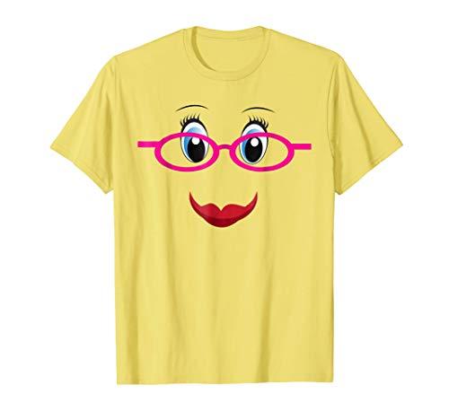 Smiling Emojis Women Girl Nerd Glasses Geek Costume Shirt