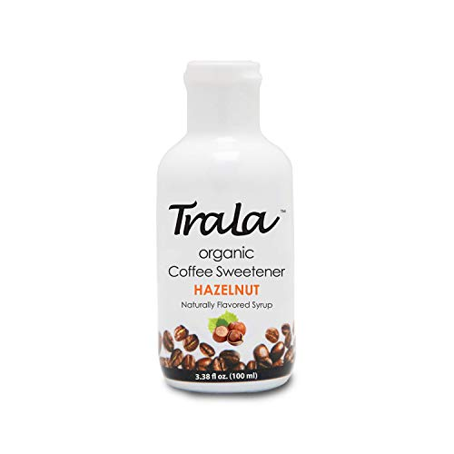 TraLa Certified Organic Coffee Syrup Sweetener - Keto, Vegan & Kosher - For Health Conscious Coffee Lovers - Subtly Sweet, Low Calorie Healthy Sugar Substitute- No Bitter Aftertaste- Hazelnut 1 bottle