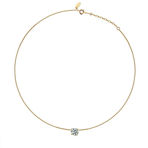 Kainier Choker Pendant Necklace 14K Gold Plated Chian Cubic Zirconia Diamond Crystal Pendant for Women (Gold) by Kainier (Image #1)