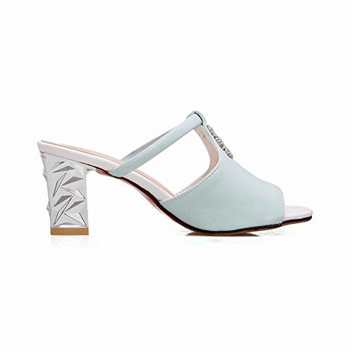 Toe Block Sandalen Frauen Peep Carolbar Strasssteine Blau Heel High Chic qZOnq067