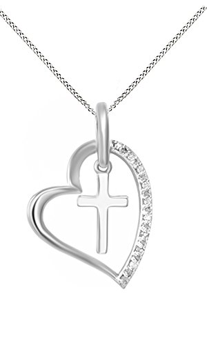 - Jewel Zone US White Natural Diamond Heart Cross Pendant Necklace 14k White Gold Over Sterling Silver (1/10 Ct)