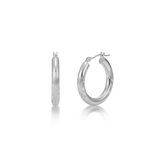 Satin Diamond Cut 14k White Gold 3mm x 20mm Click Top Tube Hoop Earrings - By Kezef ()