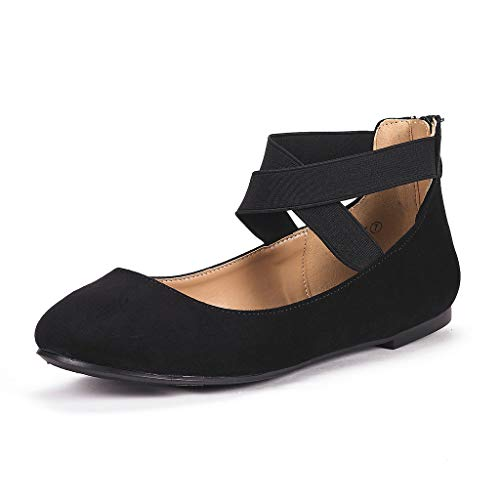 (DREAM PAIRS Women's Sole_Stretchy Black Fashion Elastic Ankle Straps Flats Shoes Size 8.5 M US)