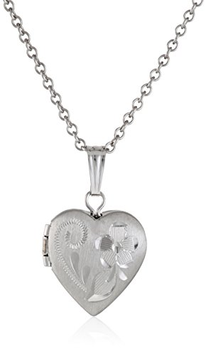 Sterling Silver Children's Hand Engraved Heart Locket Pendant Necklace, (Hand Engraved Heart Locket)