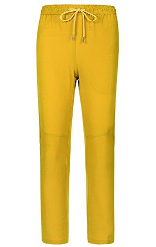 LANBAOSI Boys Girls Elastic Waist Hiking Pants Waterproof Drawstring Pants Yellow