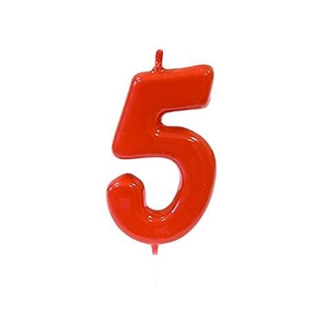 Vela Cumpleaños rojo 5 años (x1) Ref/bga1100/5: Amazon.es: Hogar