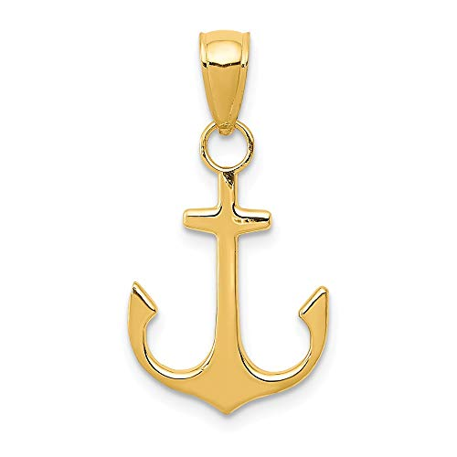 14k Yellow Gold Nautical Anchor Ship Wheel Mariners Pendant Charm Necklace Sea Shore Man Fine Jewelry Gift For Dad Mens For Him