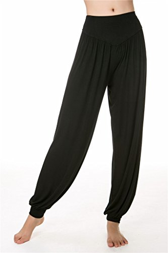 o per Fit Pantaloni e Lunghi Leggings SIMYJOY da Yoga donna Pilates Spandex Black Loose morbido Modal pvaPSqO