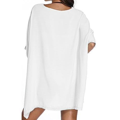 Paciffico - Chemisier de plage en coton pour femme - Taille unique - Blanc - Ample - Pour mettre par-dessus un bikini, un maillot de bain