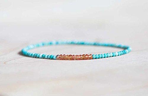 JP_Beads Turquoise Stretch Bracelet with Orange Sapphire, Delicate Beaded Sleeping Beauty Turquoise Jewelry, Genuine Gemstone Elastic Bracelet 2.5-3mm 6.75 inches