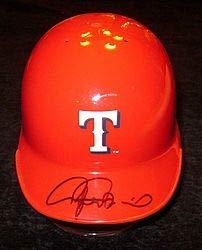 (Rafael Palmeiro Autographed Signature Texas Rangers Mini Helmet Autograph - JSA Certified)