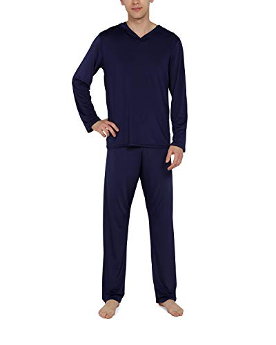 WEEN CHARM Mens Silk Satin Pajamas Set Hooded Shirt with Pants Sleepwear Loungewear Navy ()
