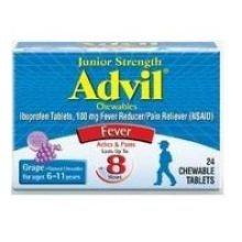 Pfizer Advil Junior Strength Grape Chewable Tablet - 24 per pack -- 72 packs per case.