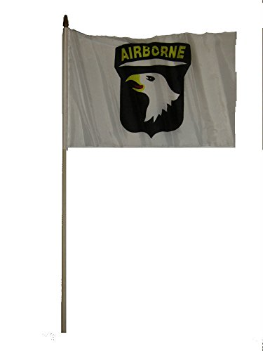 ALBATROS 12 inch x 18 inch (6 Pack) 101st Airborne White Stick Flag Wood 30in Staff for Home and Parades, Official Party, All Weather Indoors Outdoors