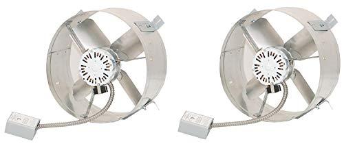 Ventamatic CX2500UPS Cool Attic Power Gable Mount Ventilator Fan, Home Roof Vent Cooling Fan, 1650 CFM, 115 Volts (2-(Pack)) (Ventilator Power Pack)