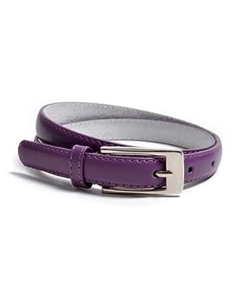 """Solid color Leather Adjustable Skinny Belt, Large (35""""-39""""),Dark Purple"""
