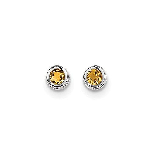 (14k White Gold 4mm Bezel November Birthstone Genuine Citrine Post Stud Earrings)