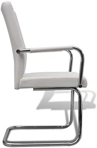 Xingshuoonline chaises de Salle à Manger 2unités Cuir Artificiel Blanc Chaise Profondeur du siège: 41cm