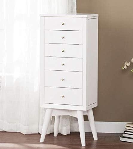 Amazon Com Lifestyle Home Design White Finish Wood Mid Century Modern Freestanding Jewelry Armoire Tall Cabinet Storage Jewelry Box Home Kitchen