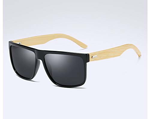 hombres leopard TL madera de polarizadas de gray Sunglasses bambú black en madera Gafas de sol de BYUfBr