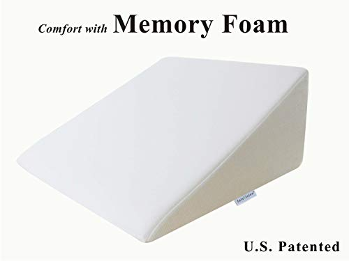 "InteVision Foam Bed Wedge Pillow (25"" x 24"" x 12"") - 2"" Memory Foam Top Layer with Firm Base Foam and a High Quality Removable Cover - Helps Provide Relief from Acid Reflux, Snoring, Post Surgery"