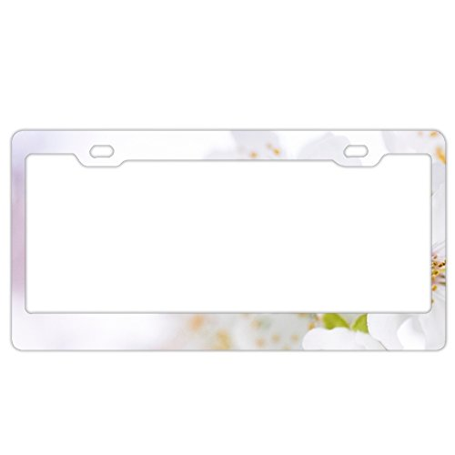 Personalized Custom Made Beautiful Flowers Bloom Blooming Metal License Plate Frame -