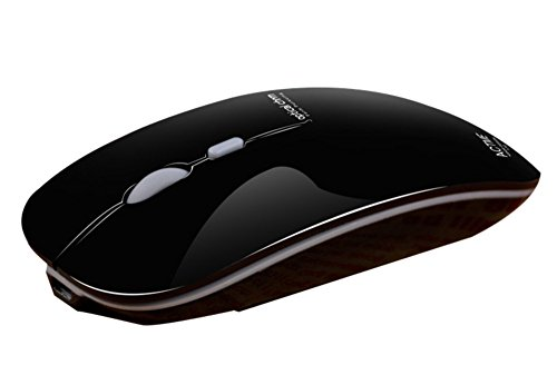 TENMOS T5 Wireless Rechargeable Mouse USB Optical Ultra Thin Mini Computer Silent Mouse for Mac/Notebook/Laptop (Polished Black)