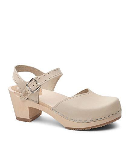 Sandgrens Swedish Wooden High Heel Clog Sandals for Women, US 7-7.5 | Victoria Sand, EU 38