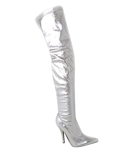 SKO'S Ladies Womens Over The Knee Sexy Thigh High Stiletto Heel Stretch Boots Size 4 5 6 7 8 Various Designs Silver