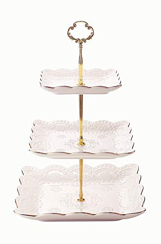 3-Tier Square Ceramic Cupcake Stand - Golden Edge Elegant Embossed Porcelain Dessert Display Cake Stand - For Birthday Weddings Tea Party ()