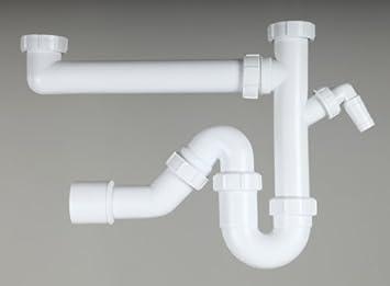 Ablaufgarnitur Küche | 2 Becken Siphon Ablaufgarnitur Kuchensiphon Geruchsverschluss Sifon